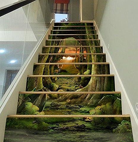 3D Zweige Der Himmel Baum 6 Stair Risers Dekoration Fototapete Vinyl Aufkleber Tapete DE Lemon (15x H:18cm x W:102cm (7