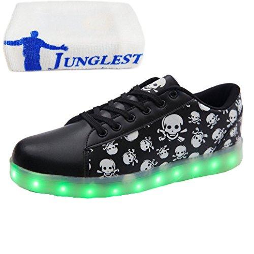 [Present:kleines Handtuch]JUNGLEST® Schwarz Schädel 7 Farbe Unisex LED-Beleuchtung Blink c33