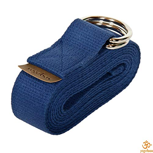 Yogagurt mit Verschluss aus Zwei D-Ringen Made in Germany, 2.5 m, Jeansblau -