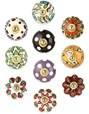 Drawer Knobs and Pulls - Vintage Assorted Colorful Blue Pottery Ceramic Drawer Handle for Kitchen Cabinets Interior Door Decor Hardware - Pack of 10 Knobs