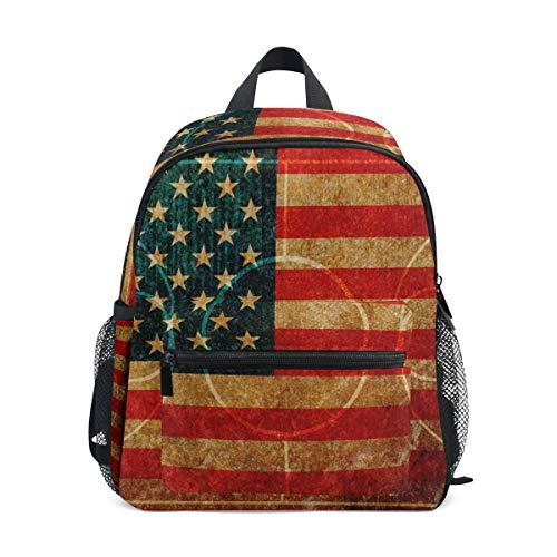 WowPrint Vintage USA Flagge Basketball Gericht Druck Rucksack Kinder Kindergarten Vorschultasche Büchertasche Tasche für Kleinkinder Mädchen Jungen Unisex Amerikanischen Gericht