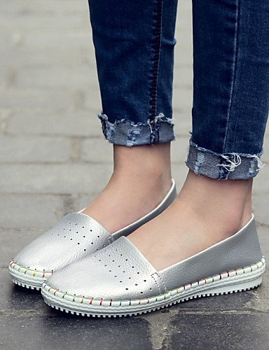 ZQ gyht Scarpe Donna-Mocassini-Ufficio e lavoro / Formale / Casual-Comoda / Ballerina-Piatto-Nappa Leather-Rosa / Bianco / Argento , silver-us8.5 / eu39 / uk6.5 / cn40 , silver-us8.5 / eu39 / uk6.5 /  white-us5.5 / eu36 / uk3.5 / cn35
