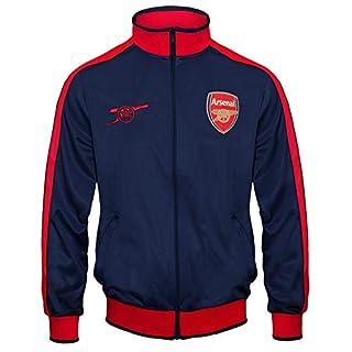 FC Arsenal Herren Retro-Trainingsjacke - Fußballgeschenk - 100% Polyester - Marineblau mit Reißverschluss - L