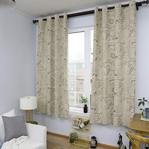 GZ-curtain Vorhänge - einfaches modernes Wohnzimmer liegen - Zimmer Erker halb kurz Vorhang Isolierung Sonnenschutz Baumwolle Leinen halbe Schattierung 140 * 215cm - Briefe Vorhänge