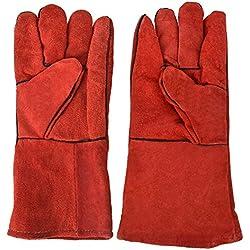 1 paire de gants de soudure en peau de vache fendus, gants de protection résistant à la chaleur(Rouge)