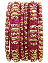 Indian Thread Wrapped Goldtone Bangle Set Of 6 Pc Women Fashion Jewellery Gift 2*6