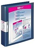 Veloflex 4148150 Präsentations-Ringbuch Velodur, DIN A4, 4-Ring-Mechanik, 272 x 315 x 46, mit Außentaschen,blau