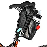 Bike Saddle Bag,Furado Waterproof Bicycle Seat Bag Pack,Bike Wedge Pannier Storage Bag with Water Bottle Repair Tools Pockets Pouch and Bike Taillight,Outdoor Road Cycling Mountain Bicycle Seat Saddle Bag (black)