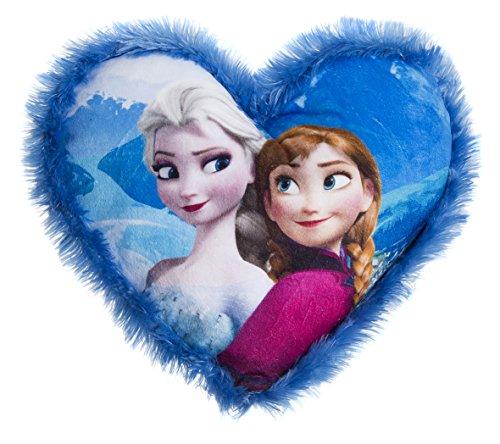 Disney Frozen 115619 - Herzförmiges Kissen mit Plüschbord, 33 x 33 cm