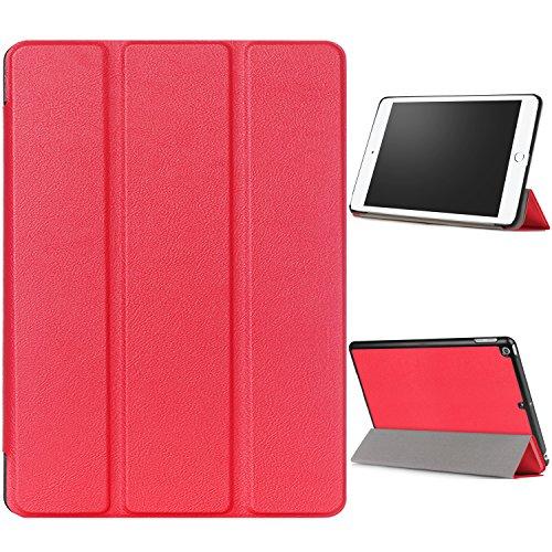 """WindTeco Hülle für Neu iPad 9.7 Zoll 2017 - Ultra Dünn Slim-Fit Smart Hülle Schutzhülle Tasche mit Einschlaf / Aufwach Funktion für New Apple iPad 9.7"""" IOS 10 Retina Display Tablet, Rot"""