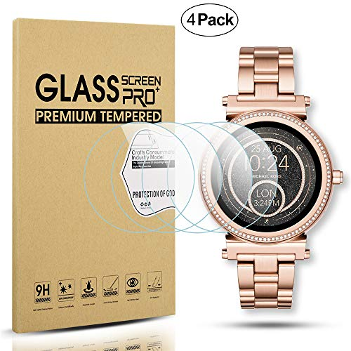 Diruite - Confezione da 4 pellicole protettive in Vetro temperato per smartwatch MK Sofie [AntiGraffio] [compatibilità Perfetta] [Versione ottimizzata]