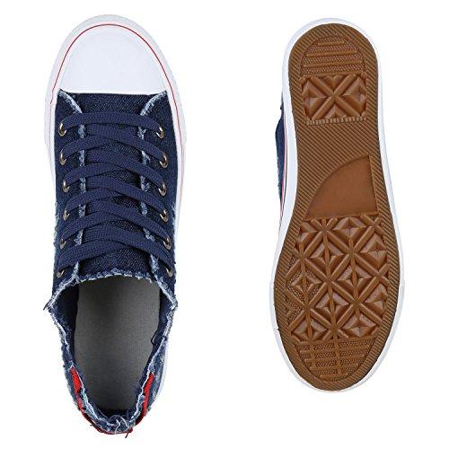 Damen Sneakers Sportschuhe Denim Jeans Schuhe Fransen Dunkelblau