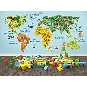 lepni.me Mapa del Mundo Pegatinas para niños – Arte de la Pared – Calcomanías de Pared Decoración extraíble para el Dormitorio Infantil Sala de Estar del Dormitorio de los niños (110 cm. / 55 cm.)