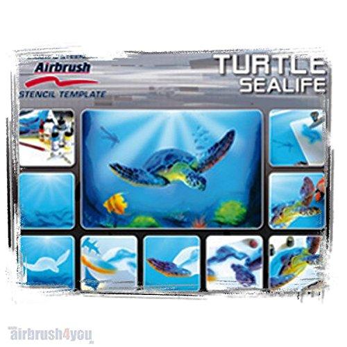 Turtle Sealife - Harder & Steenbeck Schablone 410138 (Template Airbrush Stencil Set)