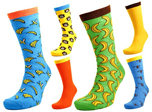 Tom Franks 6 Pairs of Mens Monkey & Bananas Character Socks 7-11