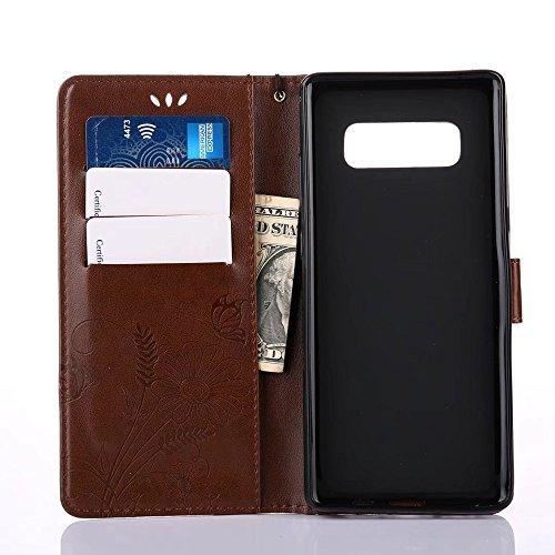 Embossing Blumen Horizontale Flip Stand Case Geldbörse Geldbörse mit Lanyard & Soft TPU Cover & Card Slots für Samsung Galaxy Note 8 ( Color : Pink ) Coffee
