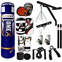 Onex Punching Bag Boxing Jumbo Set 5FT Filled Heavy Gloves Anchor Ceiling Hook Wall Bracket Chains Focus pad Kick pads Training MMA 18PC Punch Bags By