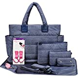 CiPU Baby Diaper Bag With 14 Compartments &9 Bag Accessories Including Changing Pad
