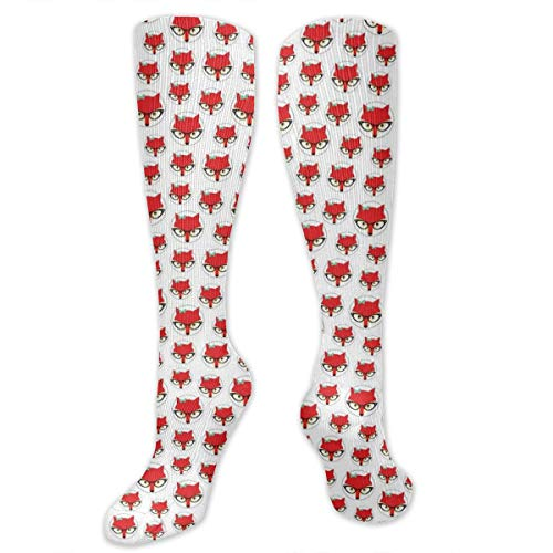 Buckle Knee High Boot (Unisex Highly Elastic Comfortable Knee High Length Tube Socks,Cartoon Hipster Red Lady Fox With Glasses And Buckle Inside A Circle Of Dots,Compression Socks Boost Stamina,Mint Green Beige Red)