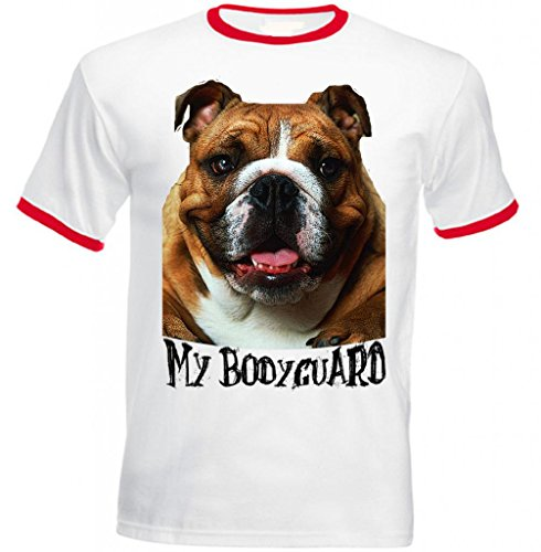 Teesquare1st Men's BROWN BRITISH BULLDOG MY BODYGUARD Red Ringer Tshirt Large Size