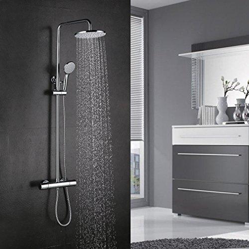 BONADE Thermostat Duschsystem Duschset Regendusche Brausethermostat Duscharmatur Duschsäule inkl. Verstellbar Duschstange (75-125 cm) mit 9 \'\' Rund Kopfbrause und Zwei-Funktionen Handbrause