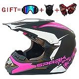 Wenyan Adult Motocross Helm MX Motorradhelm ATV Scooter ATV Helm Multicolor Mit Brillen Handschuhen Maske (S, M, L, XL),Matteblack/Pink,S