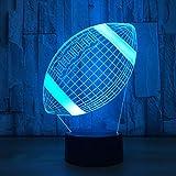 American Football 3D Veilleuse de rugby Modèle LED 7 couleurs Changement de nuit, chambre à coucher, veilleuse pour enfant Cadeau Note
