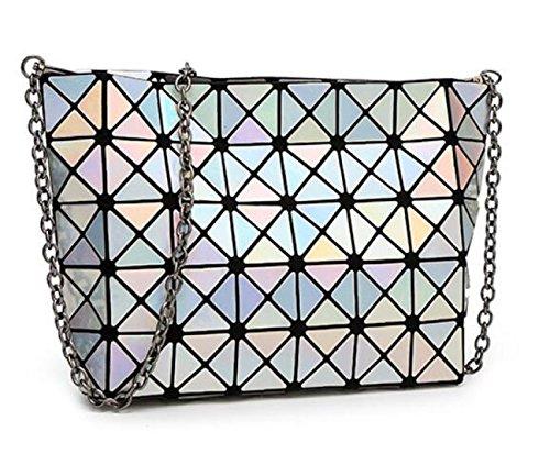 Dame Persönlichkeit Laser Falten Geometrische Tasche Umhängetasche Silver