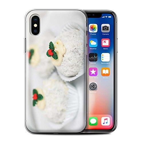 Stuff4 Gel TPU Hülle / Case für Apple iPhone X/10 / Zimtstangen Muster / Weihnachten Essen Kollektion Weiße Kuchen