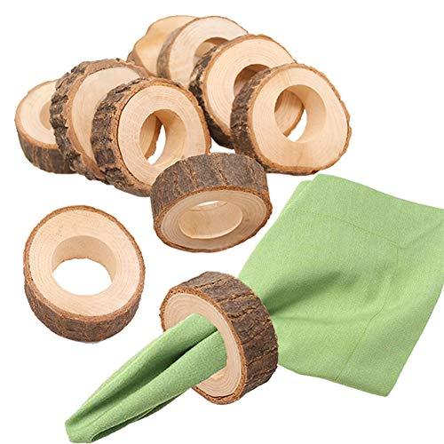 10X Toruiwa Serviettenringe Holz Kreis Serviette Ring DIY Basteln Kits Serviettenhalter für Hochzeit Party Geburtstag Tischdekoration Braun -