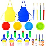 Pllieay 22 Pieces Kids Painting Brushes Sponge Drawing Set with Paint Bowls, Sponge Foam Brushes and Waterproof Apron for Children Doodle, Sharing Paints