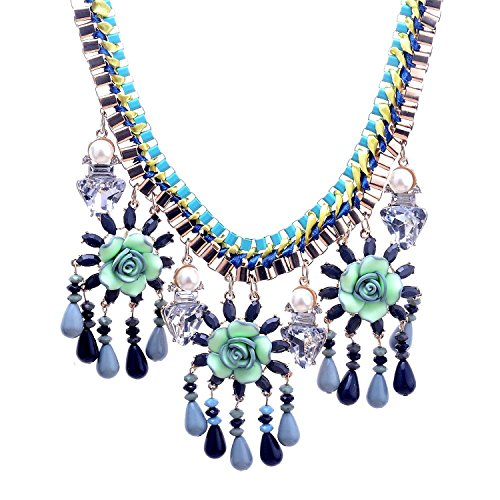 Lureme® perle finte rotonda con pendenti in cristallo triangolo e gardenia con perle pendenti etnico collana 01001919-parent (verde)