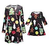 Weihnachten Familie Pyjamas Outfit Schlafanzug Nachtwäsche Damen Herren Baby Säugling Family Kleidung Zuhause Matching Set Xmas, Mama & ich Cartoon Kleid Familienkleidung(Mom2,Small)