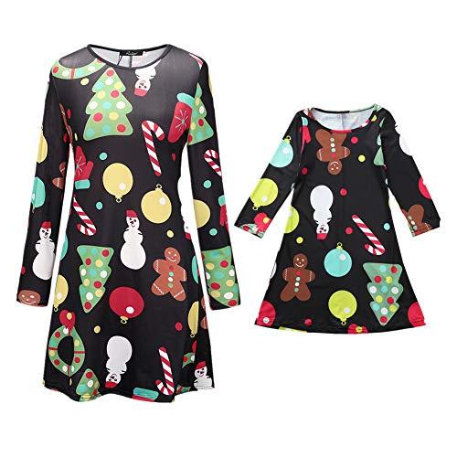 Pyjamas Outfit Schlafanzug Nachtwäsche Damen Herren Baby Säugling Family Kleidung Zuhause Matching Set Xmas, Mama & ich Cartoon Kleid Familienkleidung(Mom2,Small) ()