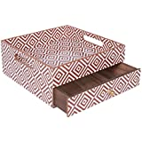 Scrafts Diamond Lines Brown & White Square Wooden Organiser With Drawer Size: LBH(10x10x4)