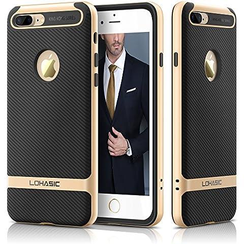 Custodia iphone 7 Plus, Premium armor [doppio strato] paraurti [Cornice dura del PC + TPU interno] in fibra di carbonio rivestita con ottimo anti-scivolo e della copertura della cassa antiurto per iPhone 7