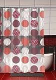 Duschvorhang Kreise mit Verzierung 180cm breit x 200cm lang transparent rot weiß Vinyl + Ringe