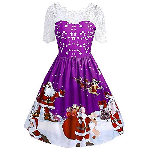 Skang Kleider Vintage Ballkleid Cocktailkleid Mode Frauen Frohe Weihnachten Vintage Santa Claus Print Lace Abend Party Kleid Kordelzug Weihnachts Lässige Minikleid
