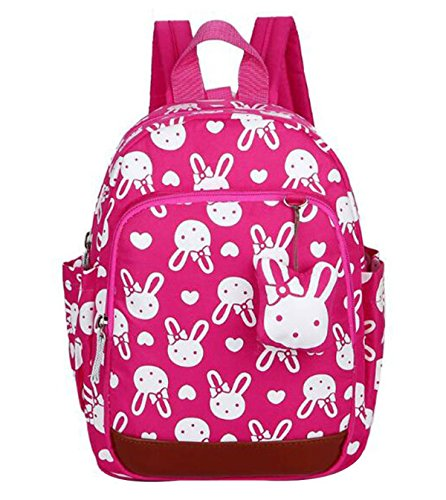 DNFC Kindergartenrucksack Kinderrucksack Mädchen Jungen Kindergartentasche Babyrucksack Schöne Kindertasche Kindergarten Schulrucksack Kleinkinder Rucksack Kinder Schultasche Backpack (Rose Rot)