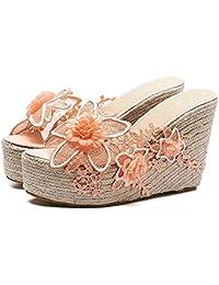 Unbekannt Sandalias de Las Mujeres,Bordado Flor tejeduríaTejiendo Superior El Verano Chancletas Zapatos,Pink