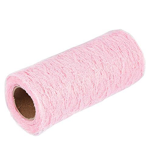 Yosoo Lace Ribbon Floral Trim Patterned für Dekoieren Floral Designing Crafting Pink 6 Zoll Wide 10 Yard Long Pink Pink Floral Tischläufer