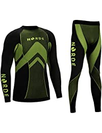 (Black/Green, XL) - THERMOTECH NORDE Functional Thermal Underwear Breathable Active Base Layer SET