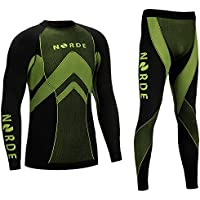 (Black/Green, L) - THERMOTECH NORDE Functional Thermal Underwear Breathable Active Base Layer SET