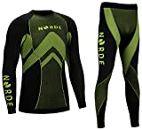 THERMOTECH NORDE Herren Funktionswäsche Thermoaktiv Atmungsaktiv Base Layer SET Outdoor Radsport Running (Schwarz/Lime, L)