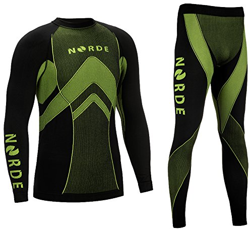 THERMOTECH NORDE Herren Funktionswäsche Thermoaktiv Atmungsaktiv Base Layer SET Outdoor Radsport Running (Schwarz/Lime, XL)