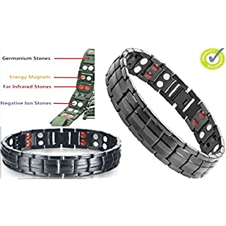 New Bio 4in1 Elements (Magnet/Germanium/White Ion & FIR stones) Black Titanium-Double Row Magnetic Bracelet/Wristband with Fold-Over Clasp in Black Velvet Gift Box & Free Link Removal Tool (Black Titanium, Black Velvet Gift Box)