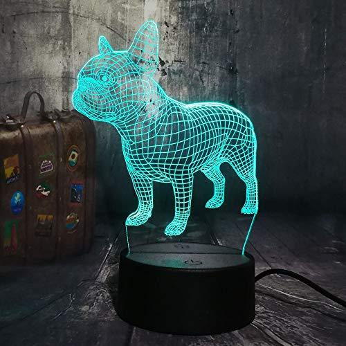 3D LED Tischlampe Französische Bulldogge Cute Puppy RGB Nachtlicht USB Tischlampe Fernbedienung Home Weihnachtsgeschenk für Kinder