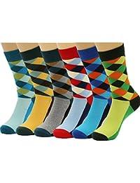 HSELL 6 paquetes de color de los hombres calcetines de vestir divertido arco iris arco Argyle calcetín de alta diversión