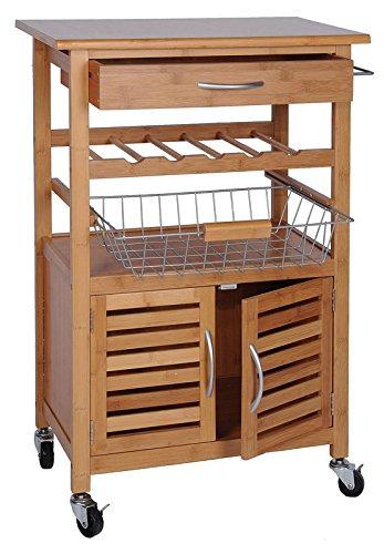 Quantio Exklusiver Küchenwagen aus Bambus - mit Weinregal, Obstkorb und Schublade - Servierwagen mit Rollen - Beistelltisch -