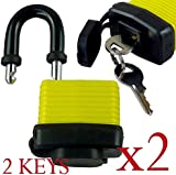 Pack of 2 - Heavy Duty Waterproof Padlock - Ideal for Home, Garden Shed, Outdoor, Garage, Gate Security(Color my vary)